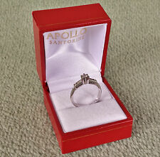 18K 750 0.25 Carats White Gold Diamond Solitaire Ring Brilliant Cut Star Shape