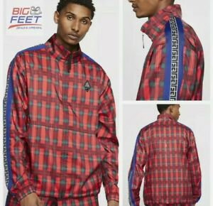 Nike Giannis Coming To America Mens Zip Up Plaid Track Jacket Size XL CW4755-657