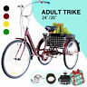 """24""""/20"""" Adult Tricycle Trike 3-Wheel Cruiser Bike w/Basket for Grocery Shopping"""