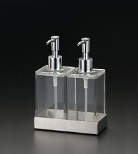 Twin Clear Acrylic Soap & Lotion Dispensers in Stainless Steel Tray, by Huang
