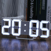 LED Digital 3D Numbers Wall Alarm Clock Brightness Dimmer Snooze Time USB Charge