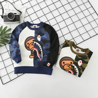 Fashion Kids Boy Girl Baby Milo & Camo Shark Bape Sweatershirt Hoodie