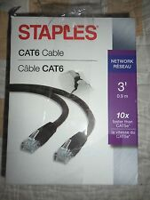 STAPLES 29770-US 3' CAT6 ETHERNET NETWORK CABLE