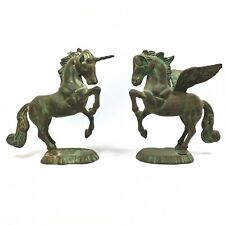 Pegasus & Unicorn Statues Sculptures - Beautiful Patina (Brass, Bronze, Copper?)