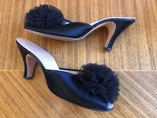 Vintage Daniel Green Boidoir Black Satin Slippers w/Tulle Sz 6 6.5