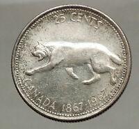 1967 CANADA Confederation Centennial Silver 25 Cents Coin LYNX Wild Cat i57126