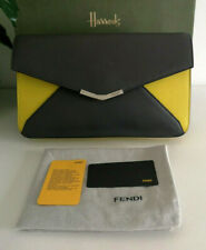 Fendi Grey and Yellow 2 Jours Envelope Leather Clutch Bag RRP £545
