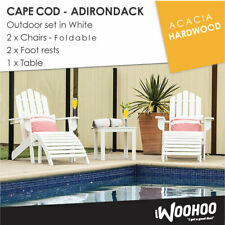 Acacia Outdoor Adirondack CapeCod Setting 2 Foldable Chairs, 2 Footrest & 1Table