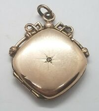 Vintage Antique Victorian Gold Filled Mine Cut Diamond Locket Charm Pendant