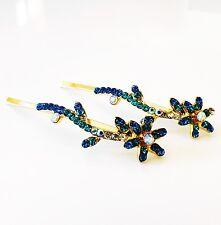 USA SELLER Bobby Pin Rhinestone Crystal Hair Clip Hairpin Flower Blue H34