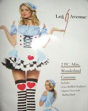 LEG AVENUE MISS WONDERLAND 2 PC COSTUME HEADPIECE APRON DRESS SIZE S