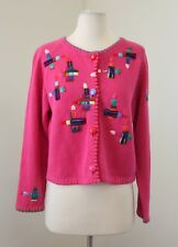 Simon Sez Michael Simon Girls Pink Rainbow Beaded Cardigan Sweater Size 12 / 14