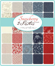 PATCHWORK/QUILTING FABRIC MODA CHARM SQUARES/PACKS - SNOWBERRY - 3 SISTERS