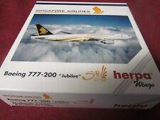 HERPA WINGS SIII24 SINGAPORE AIRLINES BOEING 777-200 JUBILEE 1:500