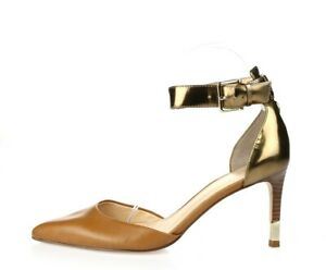 Ivanka Trump Womens Brown Leather Pointy Toe Gold Ankle Strap Heels Size 6.5 M