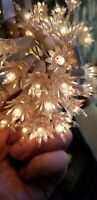 Vintage white 40-Bulb, White-Cord Christmas Lights w/Flower Reflectors