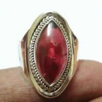 Garnet Solid 925 Sterling Silver Cocktail Ring - Any Size 4 To 12