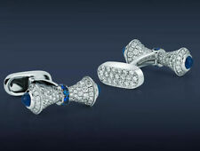 Bow Style Blue White Cuff Links Cuff Links For Men's Jewelry 14k White Gold Cz