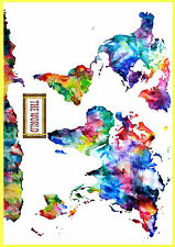 - A2 Size- Watercolor World map poster wall chart - water color 420 x 594 mm