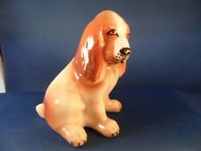 MADE IN SPAIN TITO PORCELAIN DOG FIGURINE WHITE BROWN SPANIEL TYPE FLOPPY EARS
