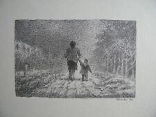 ANCHISE PICCHI - DISEGNO SU CARTONCINO 1989 (donna e bambina viale di campagna)