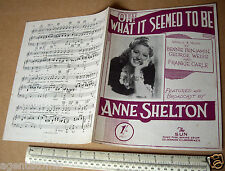 """1945 Home Front WW2 Piano Sheet Music """"Oh What It Seemed To Be"""". Anne Shelton"""