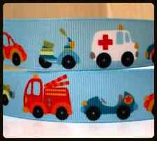 "Motor Vehicles  RIBBON. 7/8"" Grosgrain. Scrapbooking/Craft. Boys.Cars,Fire Truck"
