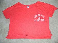 VICTORIA'S SECRET PINK Ohio State University Buckeyes S/S Crop Shirt, M ~ NWT