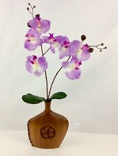 "VASE With Plumeria Flower Carved From Mahogany Wood.Size 9 1/2""T-7 1/2""W-1 1/2""D"