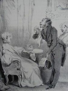 Robert Macaire Bestatter - Lithographie Daumier Aubert - Satire Humor - 1839