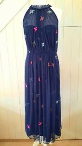 MONSOON £130 MARIGOLD NAVY BLUE PINK ARTISAN EMBROIDERED & BEAD DRESS 12 40 NEW