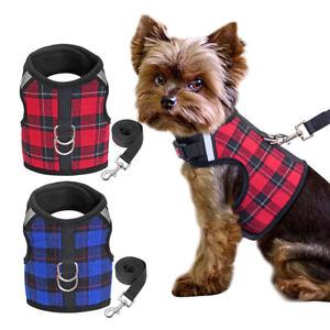Reflective Dog Harness Lead Set Plaid Mesh Padded Pet Vest Nylon Walking Rope