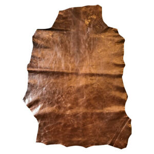 Waxy Brown Genuine Leather Hides Thin Material Crafting Supply DIY Fabric FS881