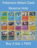 Pokemon Rebel Clash Sword /& Shield Reverse Holo Buy 3 Get 1 FREE