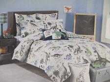Rugged Bear Kids 4pc Dinosaur Gray Blue Green Plaid Comforter Pillow Set Twin