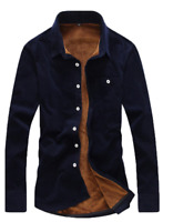 Men's Fashion Warm Solid Fashion Blouse Casual Long Sleeve Corduroy Shirt Shirt