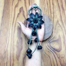 Black & Green Flower Genuine Leather KeyRing Handmade Keychain Purse Floral Gift