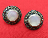 Vintage Sterling Silver Pierced Earrings Mother of Pearl Marcasites Deco 180m