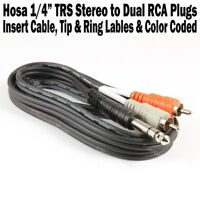 "Hosa 6.5 ft 1/4"" TRS Stereo to Dual RCA Male Insert Cable Adapter Tip Ring Color"