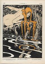 "1897-ART NOUVEAU-JUGEND PRINT CHROMOLITHO SIGNED-ARPAD SCHMIDHAMMER-""NUDES"""