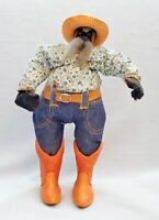 "Funny & UNIQUE 12"" Apple Head Cowboy Doll with beard, ceramic boots, & straw hat"