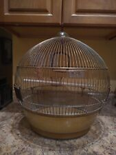 "Vintage Dome Style Brass Mid-century Modern Bird Wire Cage 19""Tall x 14""Wide"
