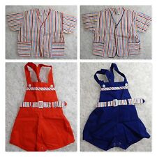 b933d1b4f2f2 Antique BABY 4PC Outfits Red White Blue Striped JACKET OVERALLS Vintage Ex  Cond!