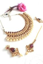 New Indian Bollywood Costume Jewellery Choker Stone Pearl Gold Maroon Bridal Set