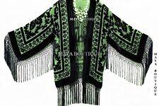 Green & Black Fringe Jacket Kimono Bolero Silk Burnout Velvet Maya Matazaro