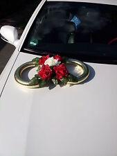 Hochzeitsdeko für Brautauto,  Autoschmuck Goldene Ringe!!!