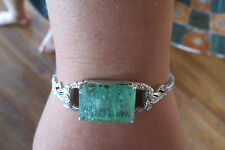 Estate 30 carat Colombian Emerald & Diamond platinum &14k gold bangle bracelet