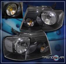 2004-2008 FORD F-150 PICKUP TRUCK CRYSTAL HEADLIGHTS LAMPS BLACK 2005 2006 2007