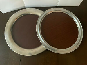 """2 VNTG Silver plate/aluminum & Formica 14""""/15"""" Cocktail Trays brown round"""
