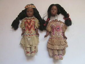 "2 VINTAGE HARD PLASTIC SLEEPY EYE MOVEABLE ARMS INDIAN GIRL 7"" DOLL BEADED DRESS"